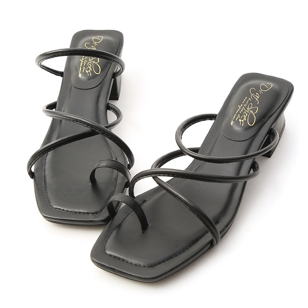 D+AF 涼夏氣息.交叉細帶套指低跟涼鞋*黑