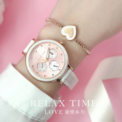 RELAX TIME LOVE 愛戀系列 半陶瓷三眼腕錶 -愛戀粉(RT-91-3)