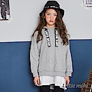 Little moni 連帽織帶拼接長版上衣(共2色)