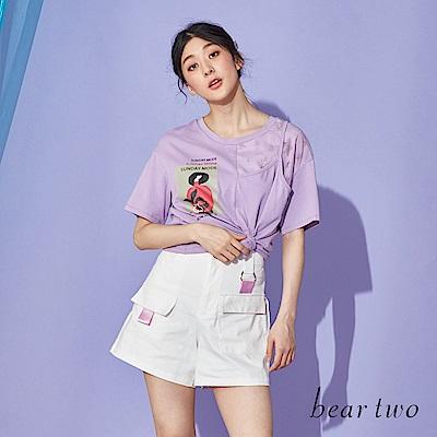 beartwo 潮流拼接設計感雜誌印圖T恤上衣(二色)