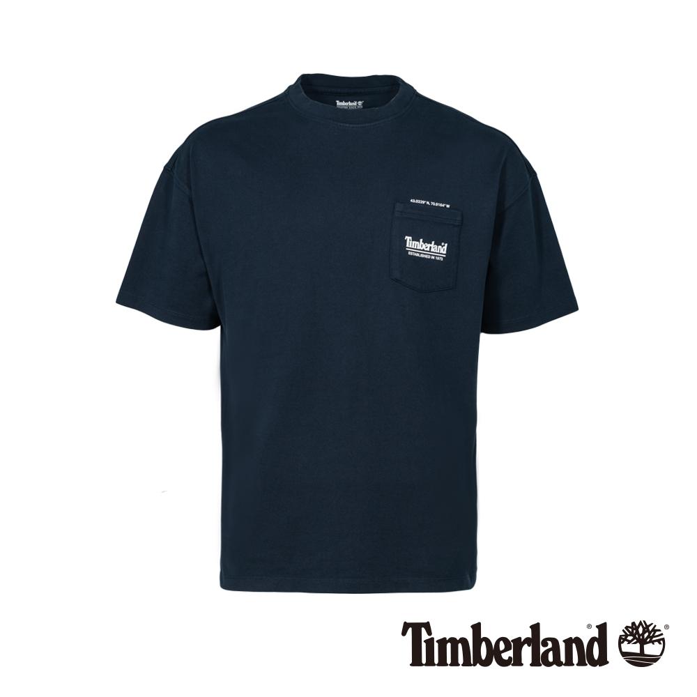 Timberland 男款深藍寶石色復古防紫外線抗菌寬鬆短袖T恤|A1X66