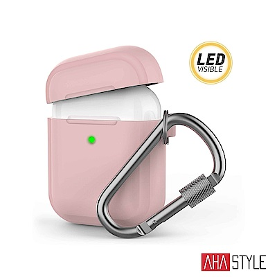 AHAStyle AirPods 加厚防摔版 矽膠保護套 掛勾款 粉色