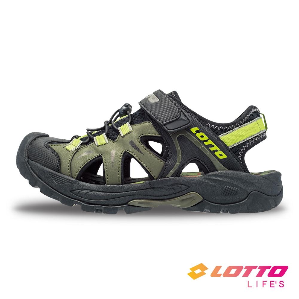 LOTTO 義大利 男 護趾排水健走涼鞋(綠)