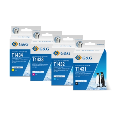 【G&G】 for Epson 1黑3彩 T1431~T1434/T143150~T143450 高容量相容墨水匣 /適用:ME Office 82WD / 900WD /940FW/960FWD