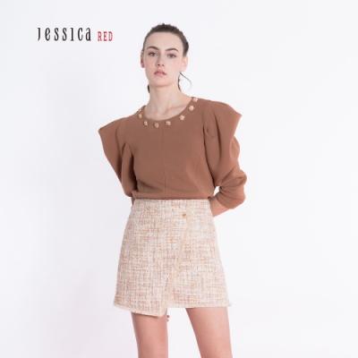 JESSICA RED -泡泡袖圓領珠飾設計上衣