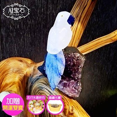 A1寶石  頂級白水晶鳥-紫水晶鎮/同聚寶盆發財樹水晶洞功效