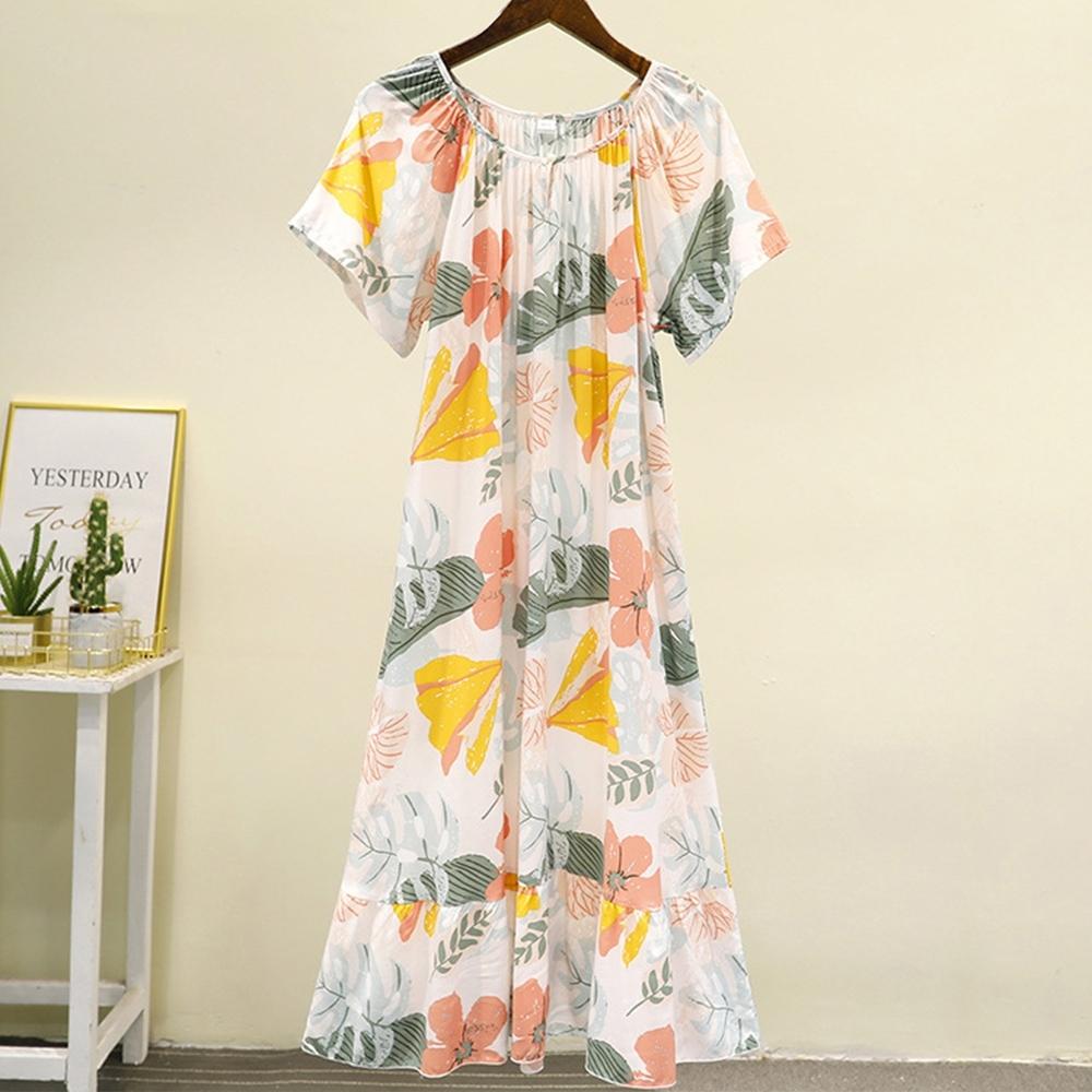 Sleeping Beauty 夏威夷風涼感寬鬆居家長裙-4色可選 product image 1