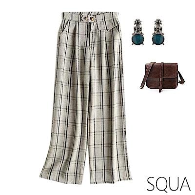 SQUA 造型口袋格紋寬褲