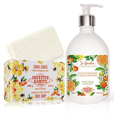 IKP 巴黎乳油木 橙花花園香氛液體皂500ml+杏仁蜂蜜手工皂200g