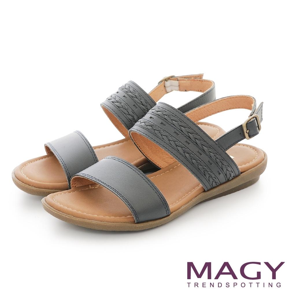 MAGY 雙帶牛皮編織平底 女 涼鞋 藍色