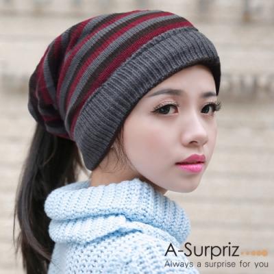 A-Surpriz  潮流兩用雙面條紋毛線帽(咖紅灰條)