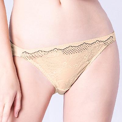 思薇爾 桐花漫舞系列M-XL蕾絲低腰三角內褲(金赭色)
