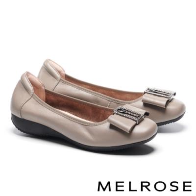 低跟鞋 MELROSE 氣質高雅蝴蝶結全真皮方頭低跟鞋-灰