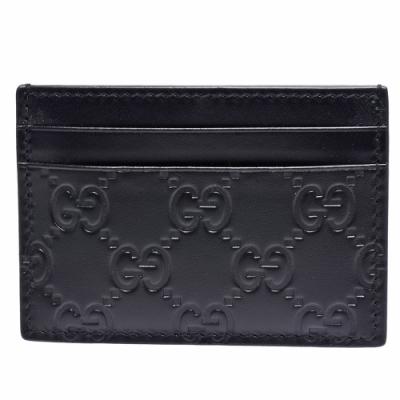 GUCCI 經典Signature系列GG壓紋小牛皮信用卡/鈔票夾(黑)