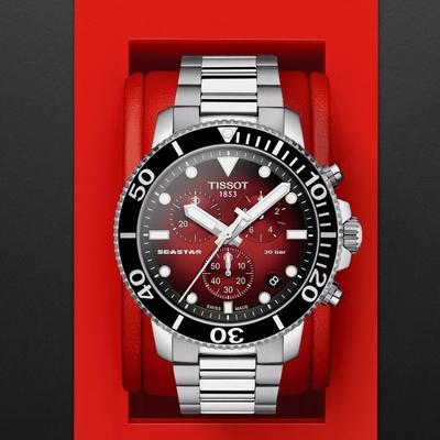 TISSOT 天梭 Seastar 海星300米潛水石英錶-T1204171142100-45.5mm