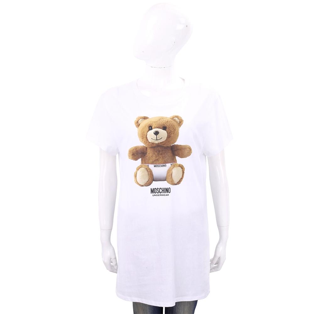 MOSCHINO Underwear 內褲泰迪熊寶寶白色長版棉質T恤