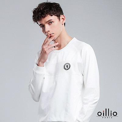 歐洲貴族 oillio 長袖T恤 圓標電腦刺繡 下襬縮口設計 白色