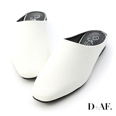 D+AF 隨性好搭.素面方頭平底穆勒鞋*白