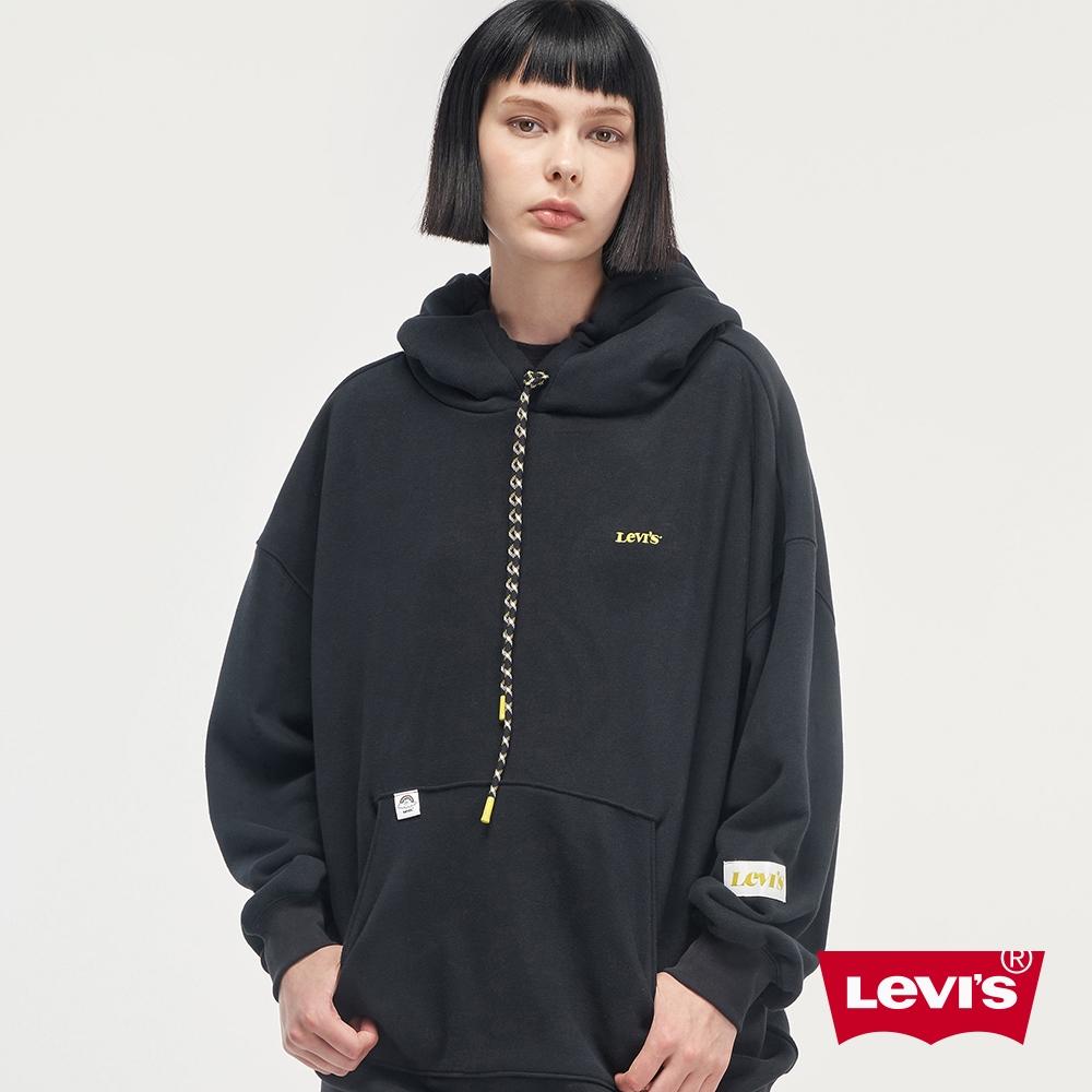 Levis 女款 重磅長版帽T 精工Logo刺繡 440GSM厚棉 魚子黑