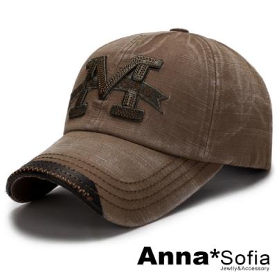 【滿額75折】AnnaSofia M字立體繡水洗 棉質防曬遮陽嘻哈棒球帽老帽(黃咖系)
