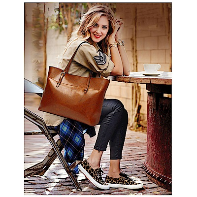 leaper時尚大容量油蠟皮托特包單肩包 共3色