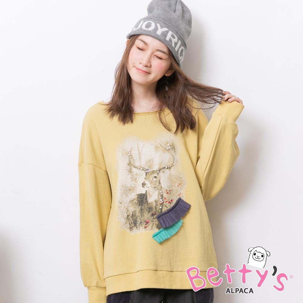 betty's貝蒂思 圓領麋鹿縫珠針織衫(淺黃)