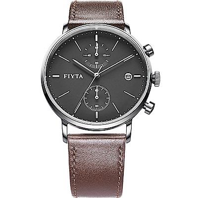 FIYTA飛亞達 經典系列多功能石英錶款(WG800002.WHR)-黑色-42mm