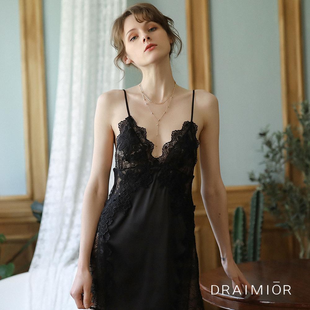 性感睡衣 DRAIMIOR絲滑立體雕花蕾絲吊带睡裙。黑色 久慕雅黛