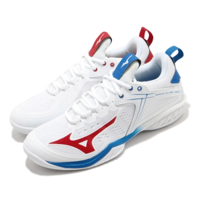 Mizuno 羽球鞋 Wave Claw Neo 運動 男鞋 美津濃 雙色 網布 穿搭 白 藍 紅 71GA207021
