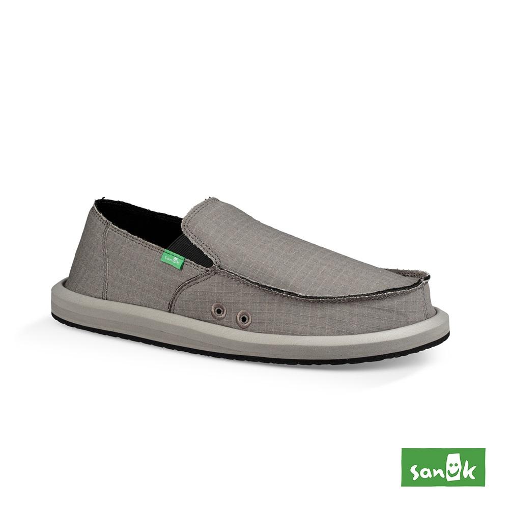 SANUK VAGABOND CHILL 復古格紋內刷毛寬版懶人鞋-男款(灰色)