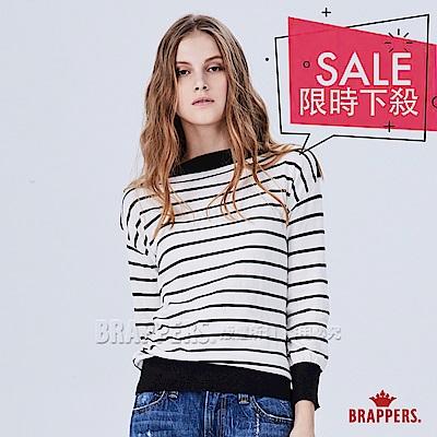 BRAPPERS 女款 橫條配色長袖線衫-黑白條