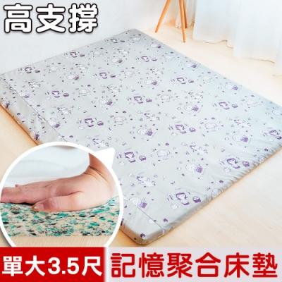 奶油獅-森林野餐-雙面布套可拆洗/高支撐記憶聚合床墊-單人加大3.5尺(灰)