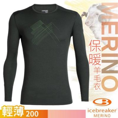 Icebreaker 男新款 200 Oasis 美麗諾羊毛輕薄款長袖圓領上衣_深墨綠