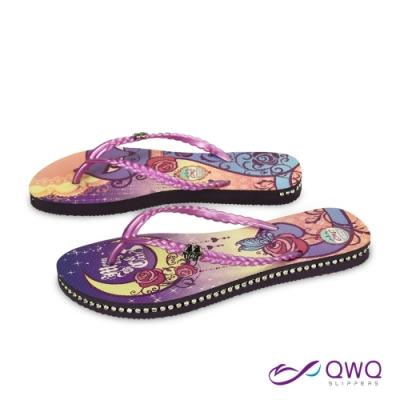 QWQ 女款插圖夾腳拖鞋-鞋帶保固-水鑽拖鞋-休閒拖鞋-Moon Night&Cat-紫(ADFA00203)