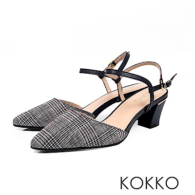 KOKKO - 莫內花園後空真皮繫踝粗跟鞋-格紋黑
