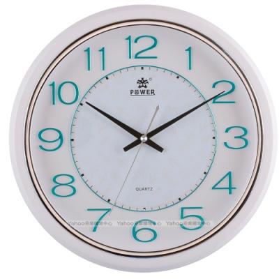 POWER霸王鐘錶-金屬感設計靜音掛鐘-湖水藍-PW-8212-GKS-32.4CM