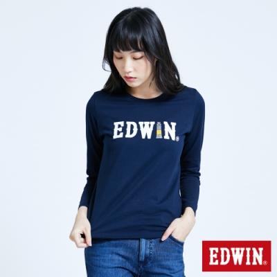 EDWIN 塗鴉LOGO 薄長袖T恤-女-丈青