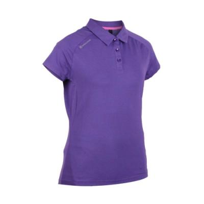 FIRESTAR 女彈性短袖POLO衫-短袖上衣 慢跑 路跑 紫