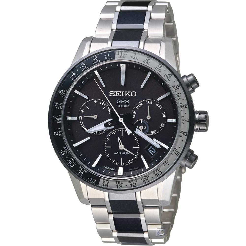 SEIKO  ASTRON GPS 雙時區鈦金屬腕錶(SSH011J1)43mm