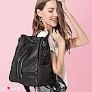 La Moda 真皮手把尼龍拼接防潑水個性USB充電多種揹法肩背後背包