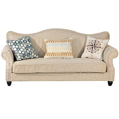 綠活居 尼加時尚亞麻布三人座沙發椅-205x85x86cm免組