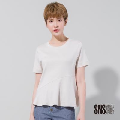 SNS 簡約不對稱剪接傘擺短袖上衣(1色)