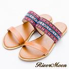 River&Moon大尺碼-寬版編織民族一字金邊涼拖鞋-棕