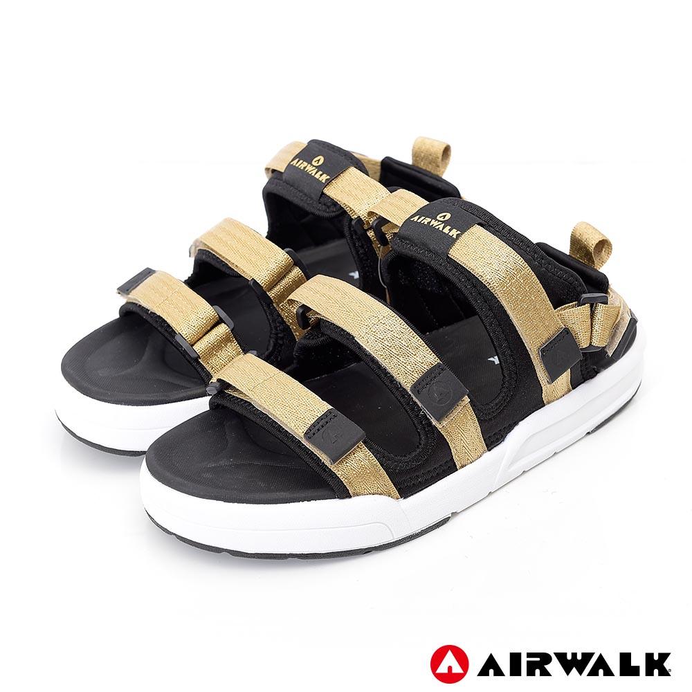【AIRWALK】魔鬼氈增高二穿式涼鞋-金色