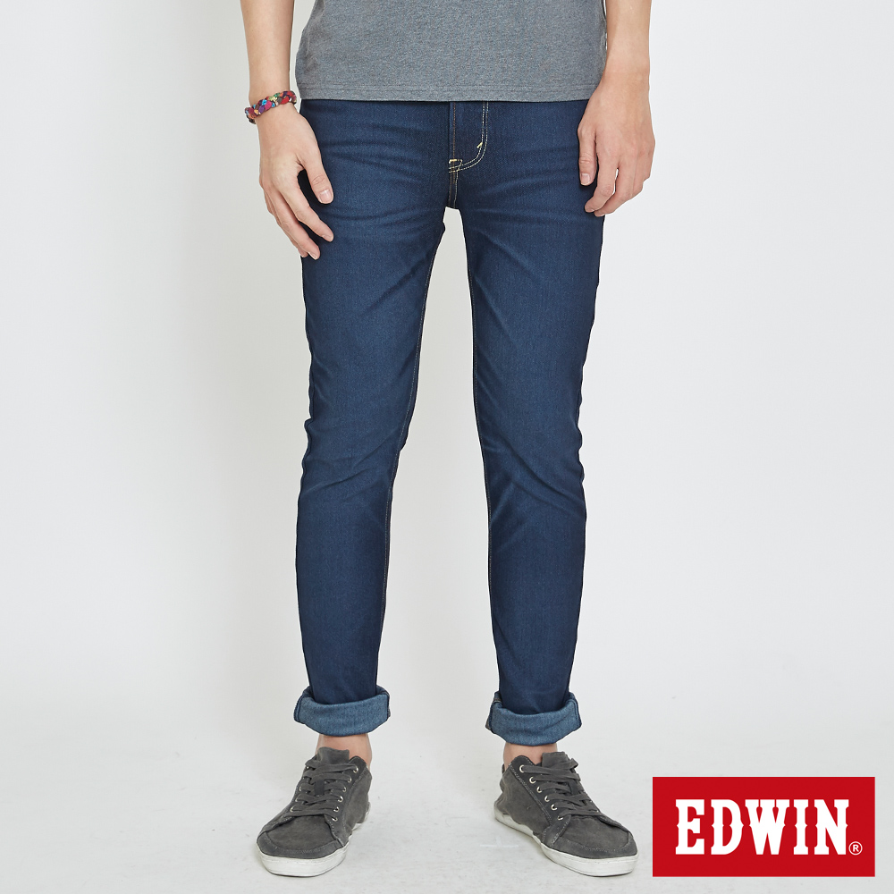 EDWIN JERSEYS 棉感迦績直筒褲-男-原藍磨