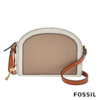 FOSSIL CHELSEA 真皮極簡風斜背饅頭包-拼接雙色