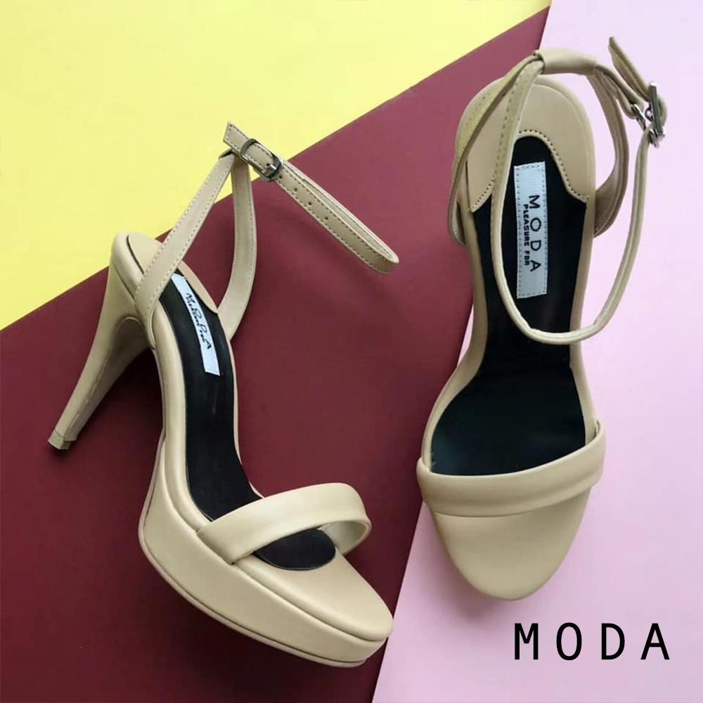高跟鞋 正韓一字設計踝繫帶縷空高跟鞋(杏色) MODA