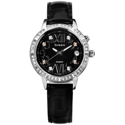SHEEN CASIO 卡西歐璀璨 萊茵石 羅馬日期 夜光LED 真皮手錶-黑色/32mm
