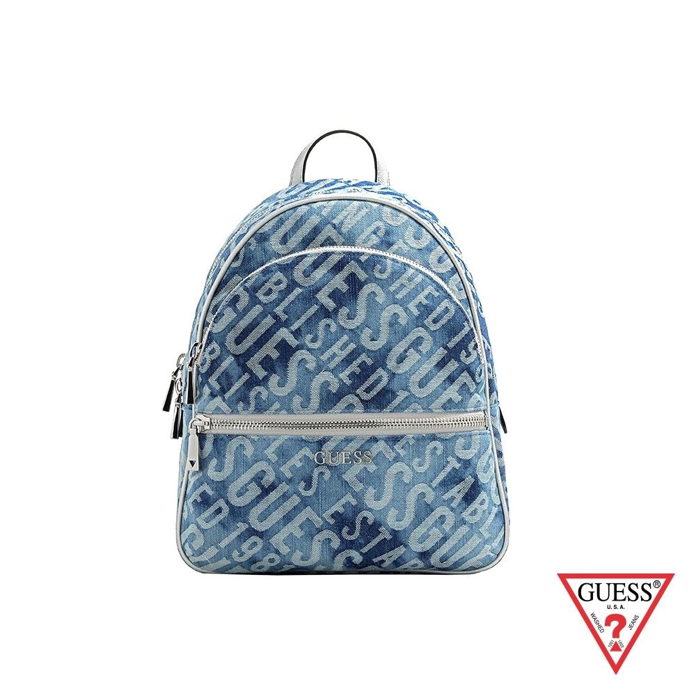 GUESS-女包-滿版LOGO文字刷色丹寧後背包-藍 原價3290