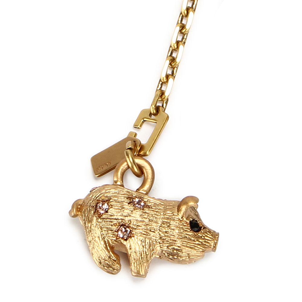 COACH 可愛小豬造型SWAROVSKI水晶吊飾-金色COACH
